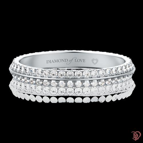 Обручальное кольцо в белом золоте со вставками: бриллианты 0000093