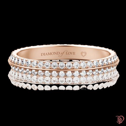 Обручальное кольцо в розовом золоте со вставками: бриллианты 0000097