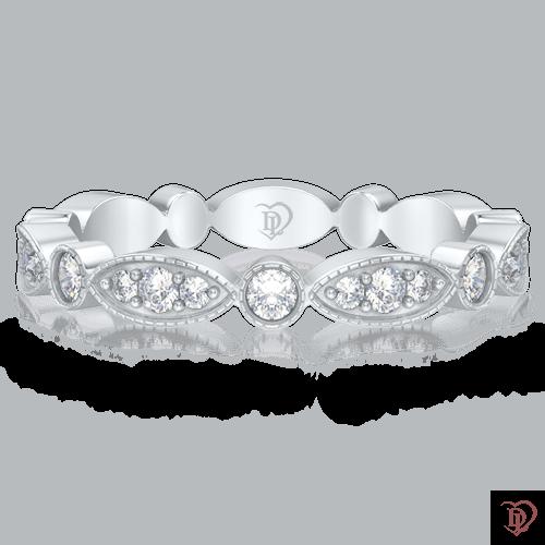Обручальное кольцо в белом золоте со вставками: бриллианты 0000263
