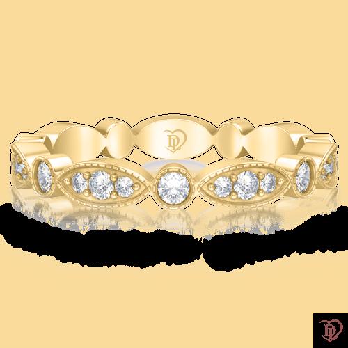 Обручальное кольцо в желтом золоте со вставками: бриллианты 0000264