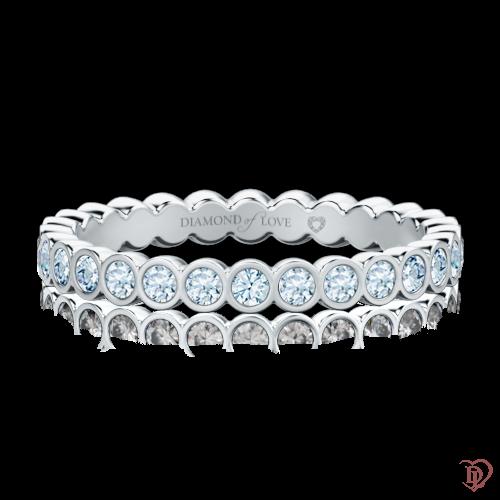 Обручальное кольцо в белом золоте со вставками: бриллианты 0000293