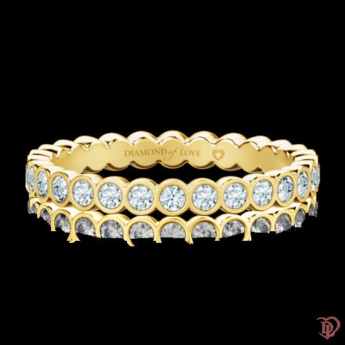 Обручальное кольцо в желтом золоте со вставками: бриллианты 0000294