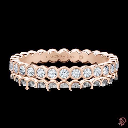 Обручальное кольцо в розовом золоте со вставками: бриллианты 0000297