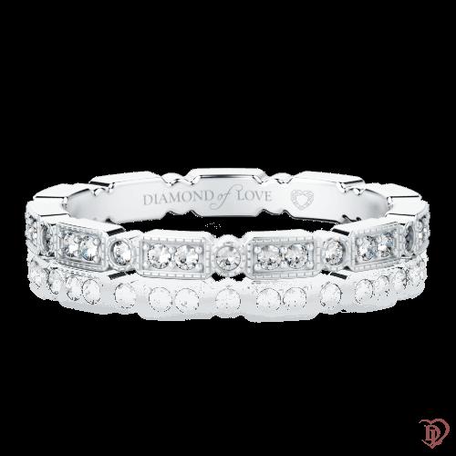 Обручальное кольцо в белом золоте со вставками: бриллианты 0000313