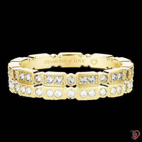 Обручальное кольцо в желтом золоте со вставками: бриллианты 0000314