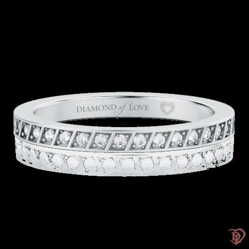 Обручальное кольцо в белом золоте со вставками: бриллианты 0000323