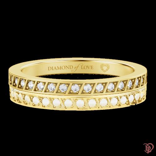 Обручальное кольцо в желтом золоте со вставками: бриллианты 0000324