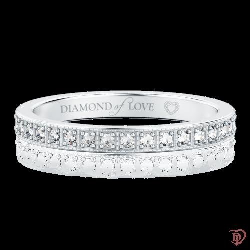 Обручальное кольцо в белом золоте со вставками: бриллианты 0000333