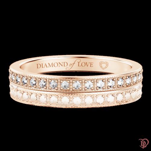 Обручальное кольцо в розовом золоте со вставками: бриллианты 0000337