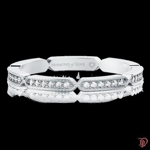 Обручальное кольцо в белом золоте со вставками: бриллианты 0000343