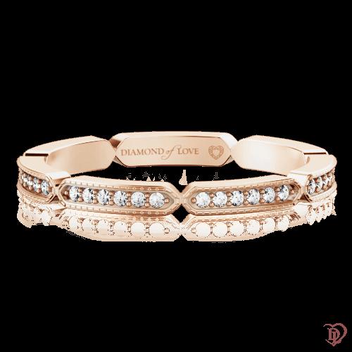 Обручальное кольцо в розовом золоте со вставками: бриллианты 0000347