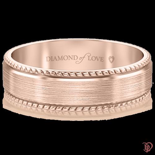 Обручальное кольцо в розовом золоте 0000417