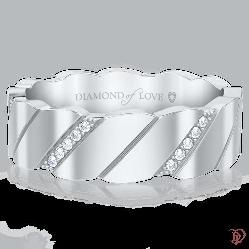 Обручальное кольцо в белом золоте со вставками: бриллианты 0000483