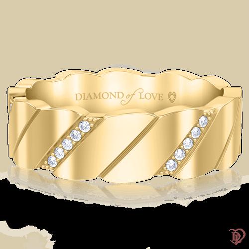 Обручальное кольцо в желтом золоте со вставками: бриллианты 0000484