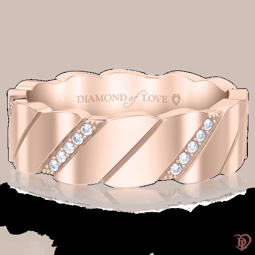 Обручальное кольцо в розовом золоте со вставками: бриллианты 0000487