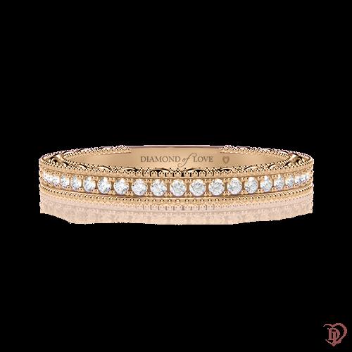 Обручальное кольцо в желтом золоте со вставками: бриллианты 0000494