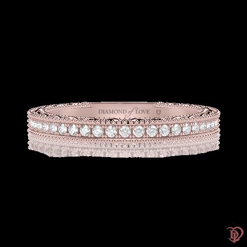 Обручальное кольцо в розовом золоте со вставками: бриллианты 0000497