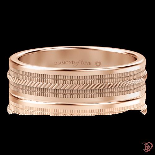 Обручальное кольцо в розовом золоте 0000527