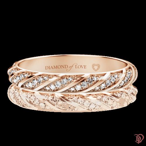 Обручальное кольцо в розовом золоте со вставками: бриллианты 0000577