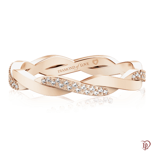 <p>Обручальное кольцо в розовом золоте со вставками: бриллианты</p>  0000597