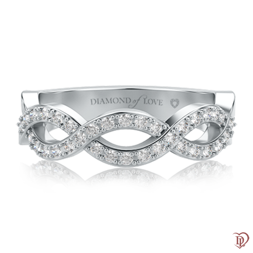 Обручальное кольцо в белом золоте со вставками: бриллианты 0000613