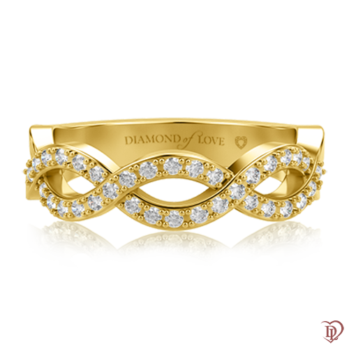Обручальное кольцо в желтом золоте со вставками: бриллианты 0000614