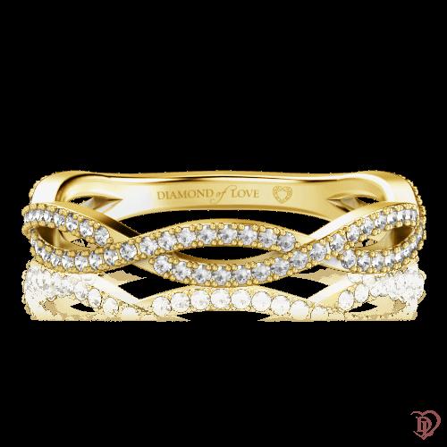 Обручальное кольцо в желтом золоте со вставками: бриллианты 0000634