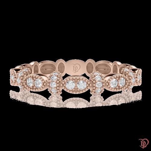Обручальное кольцо в розовом золоте со вставками: бриллианты 0000647
