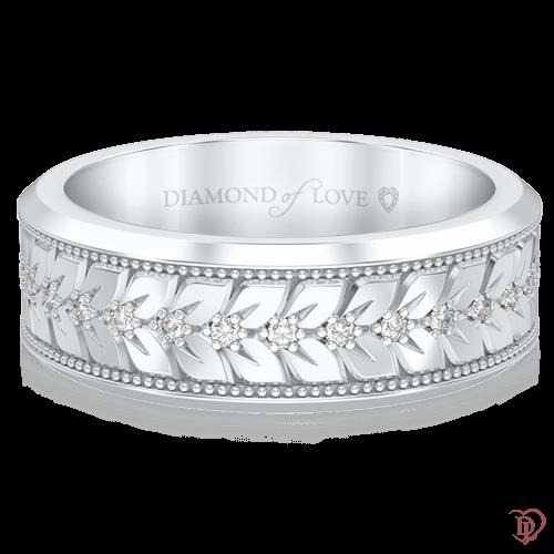 Обручальное кольцо в белом золоте со вставками: бриллианты 0000683