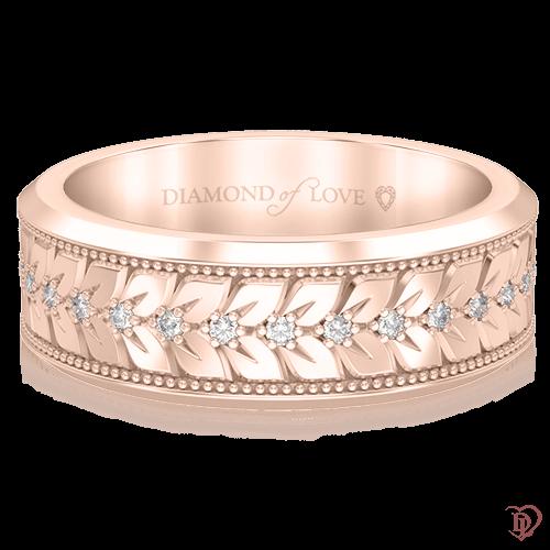 Обручальное кольцо в розовом золоте со вставками: бриллианты 0000687