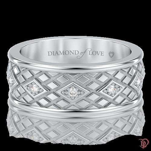 Обручальное кольцо в белом золоте со вставками: бриллианты 0000703