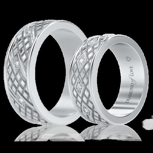 Обручальное кольцо в белом золоте со вставками: бриллианты 0000713