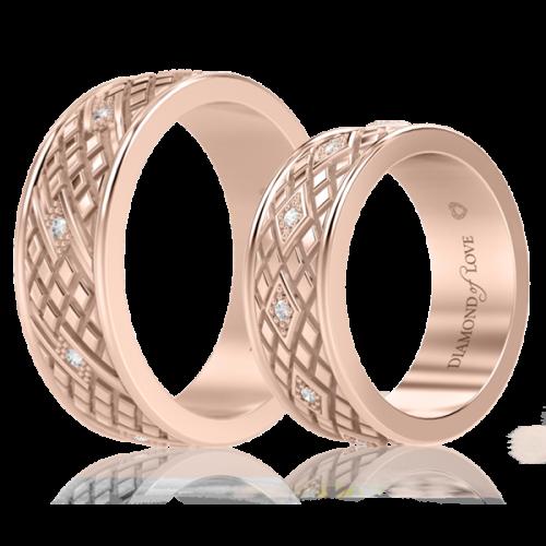 Обручальное кольцо в розовом золоте со вставками: бриллианты 0000717
