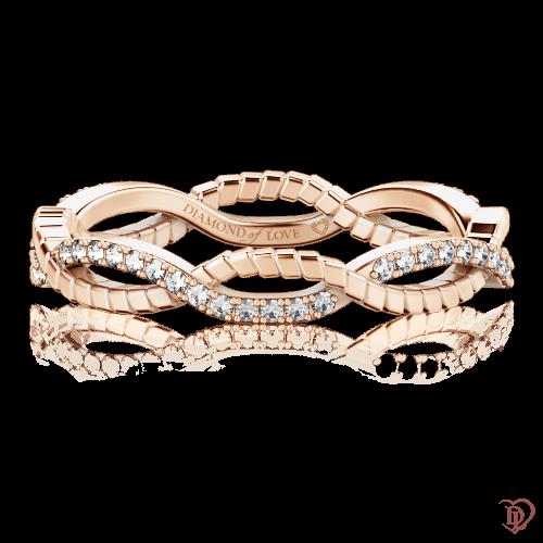 Обручальное кольцо в розовом золоте со вставками: бриллианты 0000727