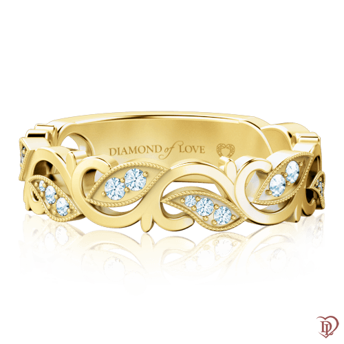 Кольцо в желтом золоте со вставками: бриллианты 0000734