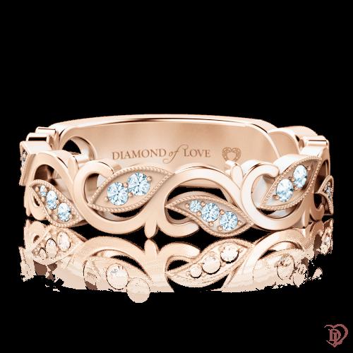 Кольцо в розовом золоте со вставками: бриллианты 0000737
