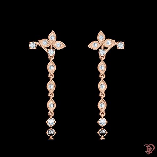 Серьги в розовом золоте со вставками: бриллианты 0001097