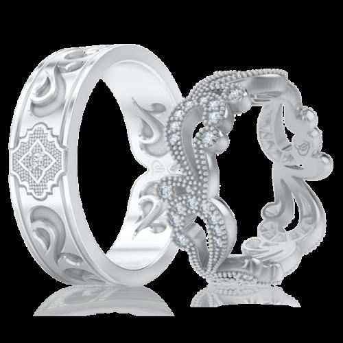 Обручальное кольцо в белом золоте со вставками: бриллианты 0001103