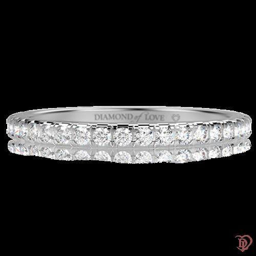 Обручальное кольцо в белом золоте со вставками: бриллианты 0001253
