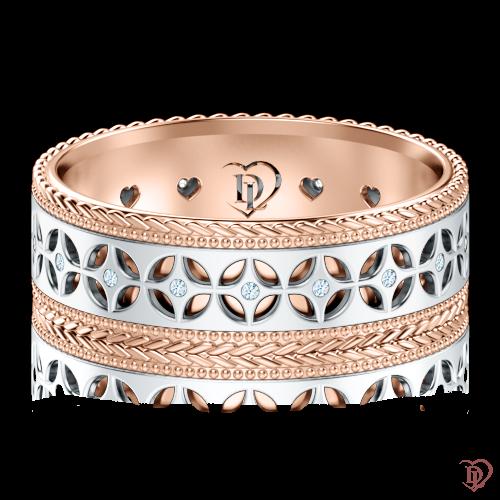 Обручальное кольцо в белом золоте со вставками: бриллианты 0001323