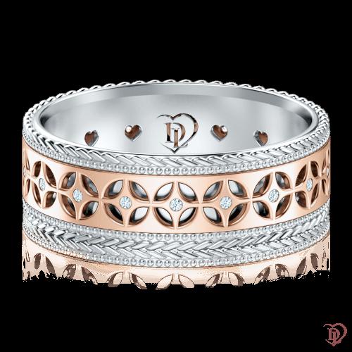 Обручальное кольцо в розовом золоте со вставками: бриллианты 0001327