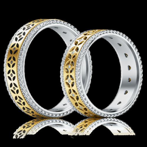 Обручальное кольцо в желтом золоте со вставками: бриллианты, эмаль 0001334