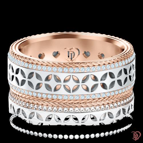 Обручальное кольцо в белом золоте со вставками: бриллианты 0001383