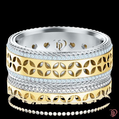 Обручальное кольцо в желтом золоте со вставками: бриллианты 0001384