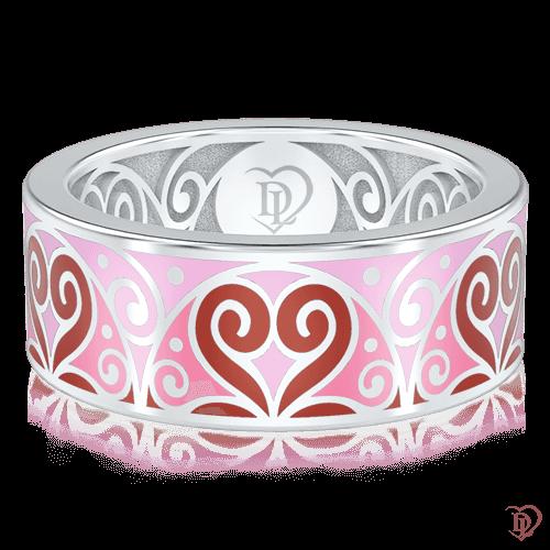 Обручальное кольцо в белом золоте со вставками: эмаль 0001453