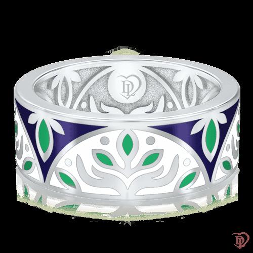 Обручальное кольцо в белом золоте со вставками: эмаль 0002913