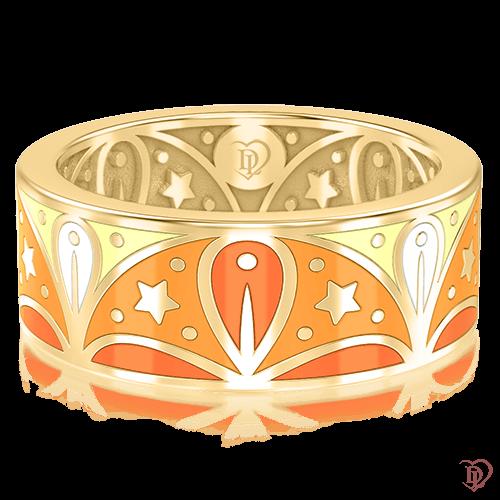 Обручальное кольцо в желтом золоте со вставками: эмаль 0003064
