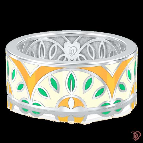 Обручальное кольцо в белом золоте со вставками: эмаль 0003123