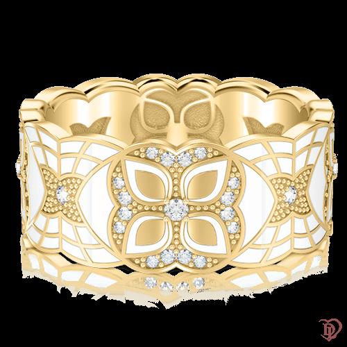 Обручальное кольцо в желтом золоте со вставками: бриллианты, эмаль 0003354