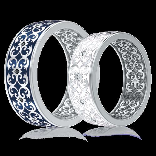 Обручальное кольцо в белом золоте со вставками: эмаль, бриллианты 0003433